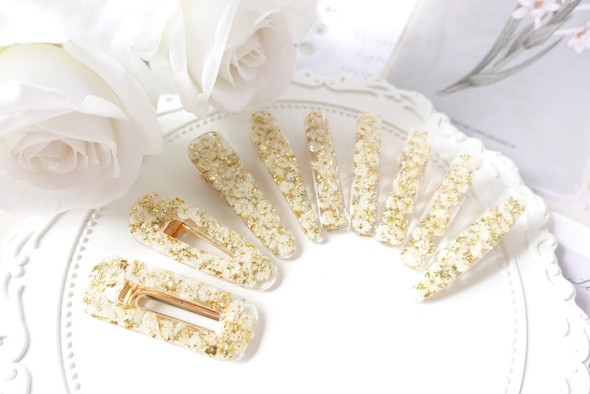 White Baby's Breath Hair Clip