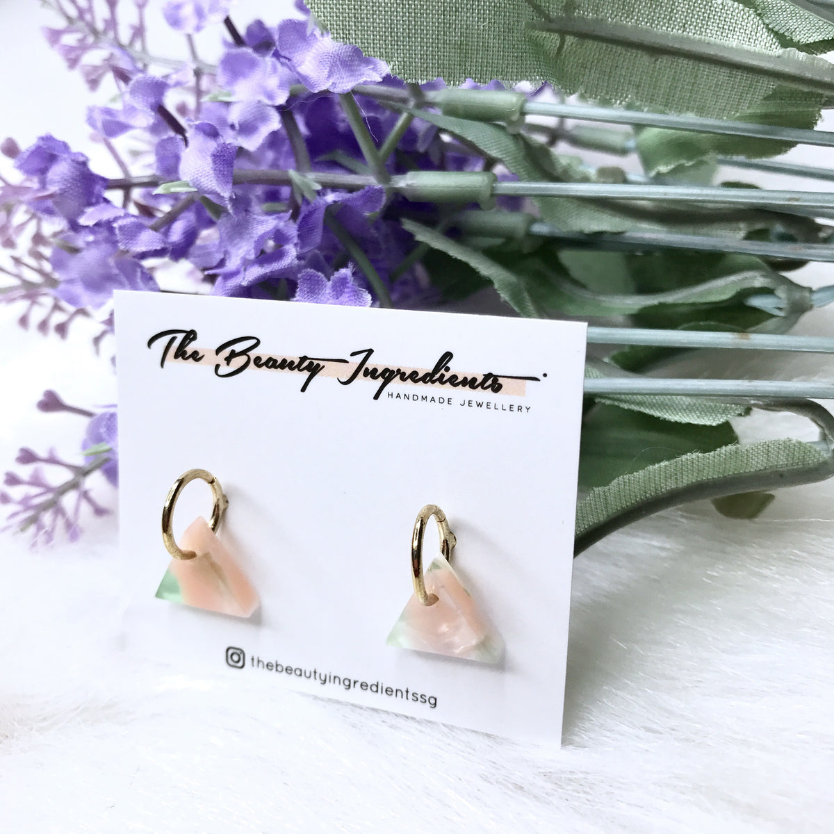 Pastel Pink Green-ish Cellulose Triangle Earrings Studs
