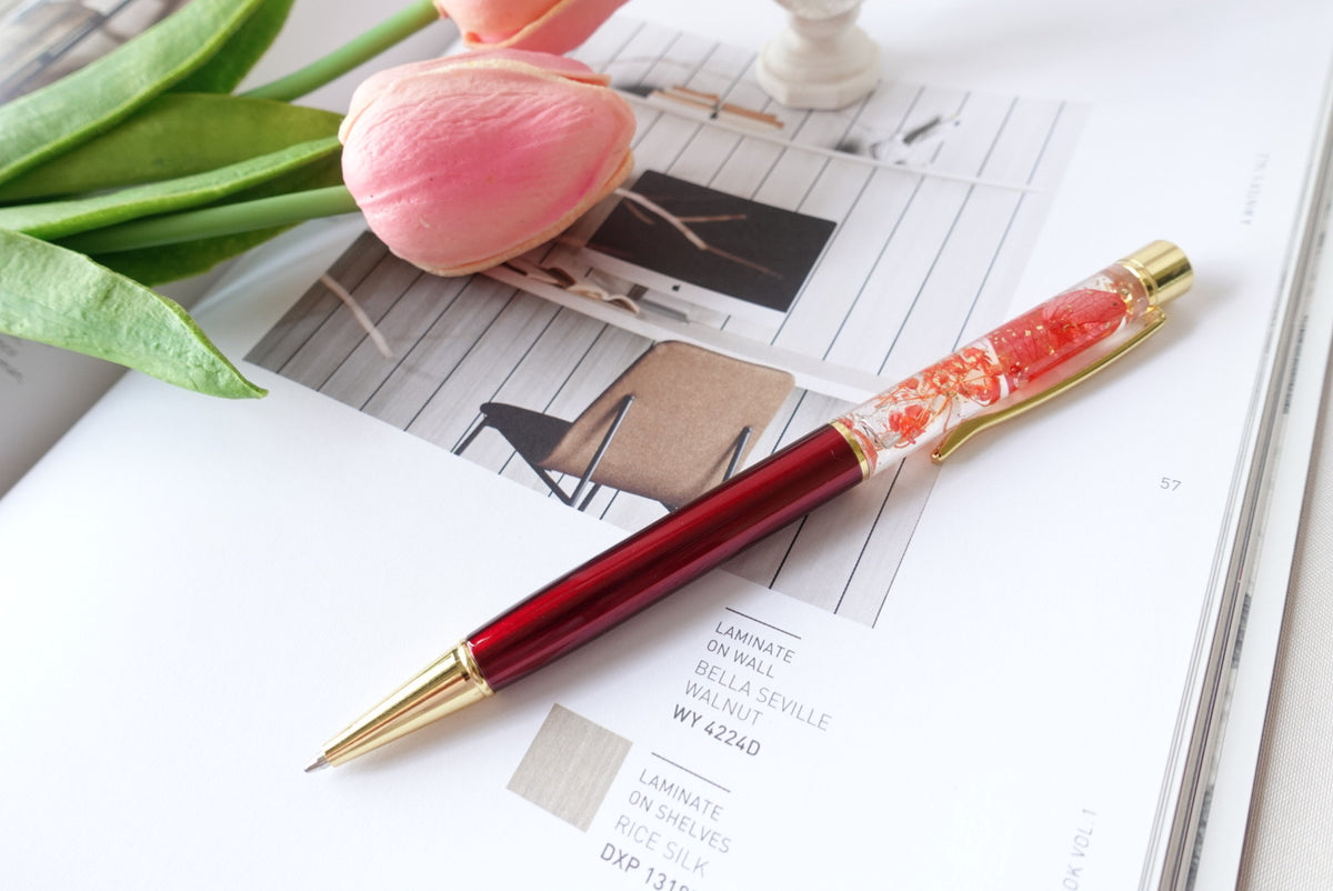 Dried Flower Resin Ball Pen
