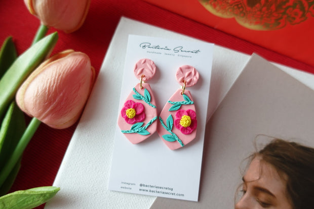 CNY Pink Blossom Bloom Polymer Clay Earrings 4