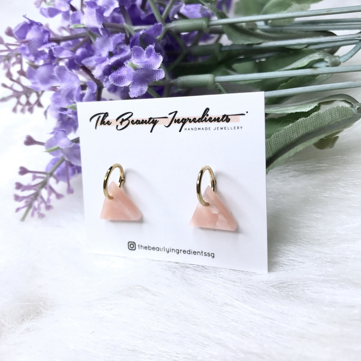 Pink Cellulose Triangle Earrings Studs