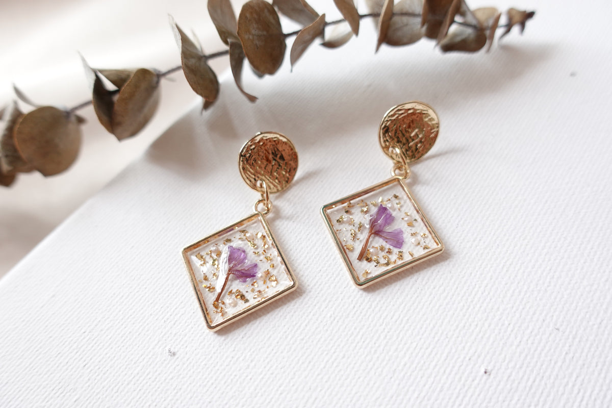 Square Forget-me-not Flower Studs
