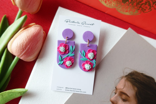 CNY Purple Blossom Bloom Polymer Clay Earrings 2