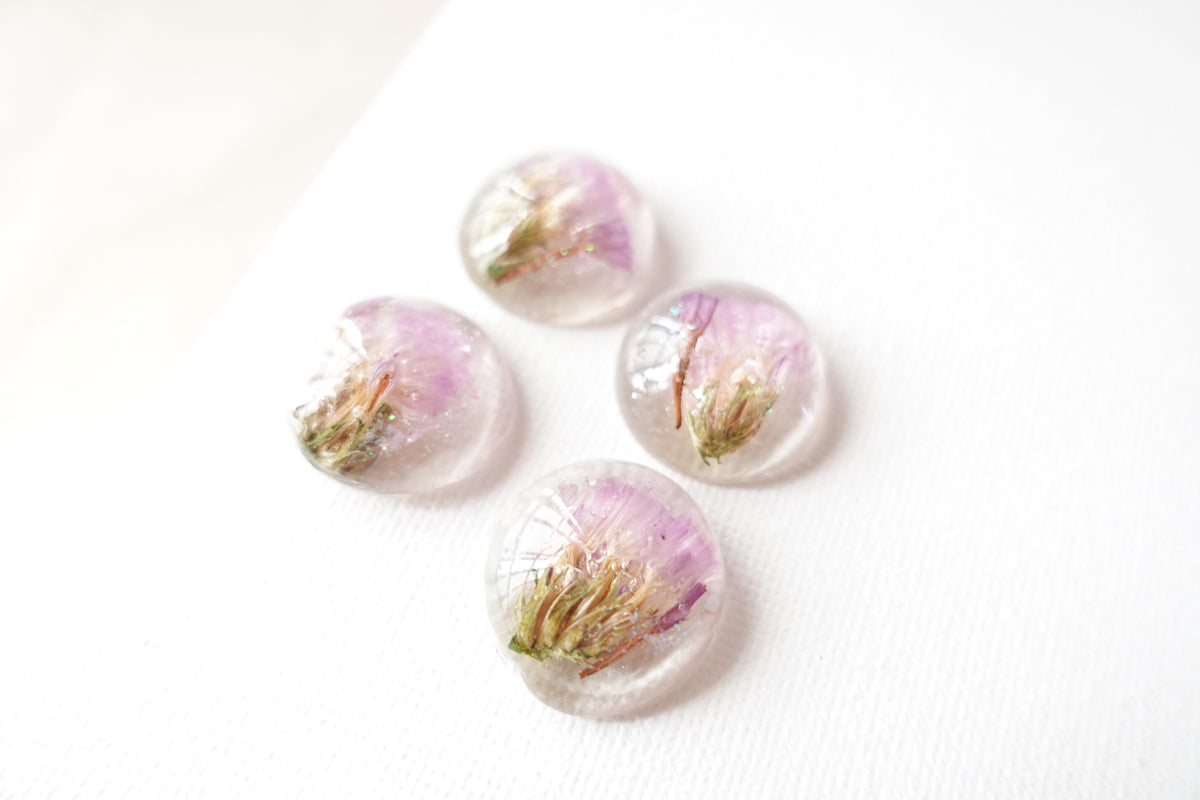 Round Purple Forget-Me-Not Flower Studs