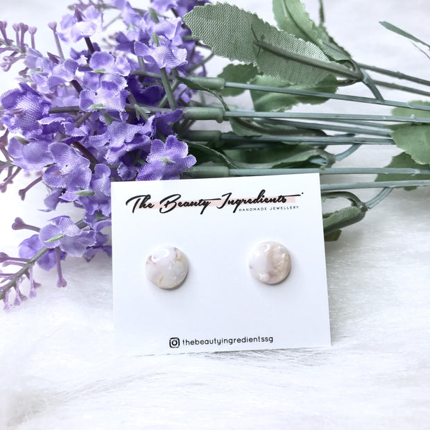 Purple Cellulose Re Round Earrings Studs