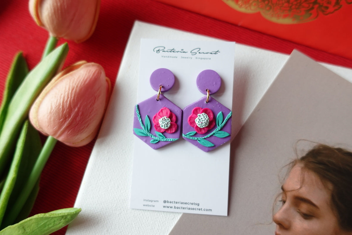 CNY Purple Blossom Bloom Polymer Clay Earrings 4