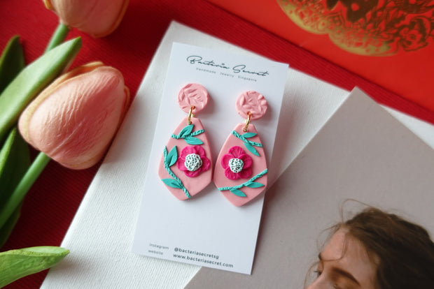 CNY Pink Blossom Bloom Polymer Clay Earrings 1
