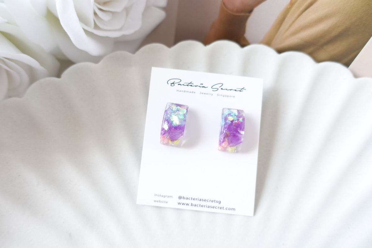 Purple Mixed Flower Resin Studs