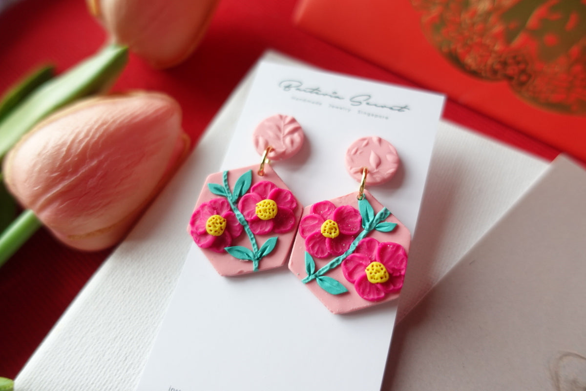 CNY Pink Blossom Bloom Polymer Clay Earrings 2