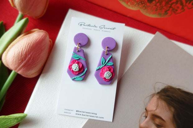 CNY Purple Blossom Bloom Polymer Clay Earrings 5