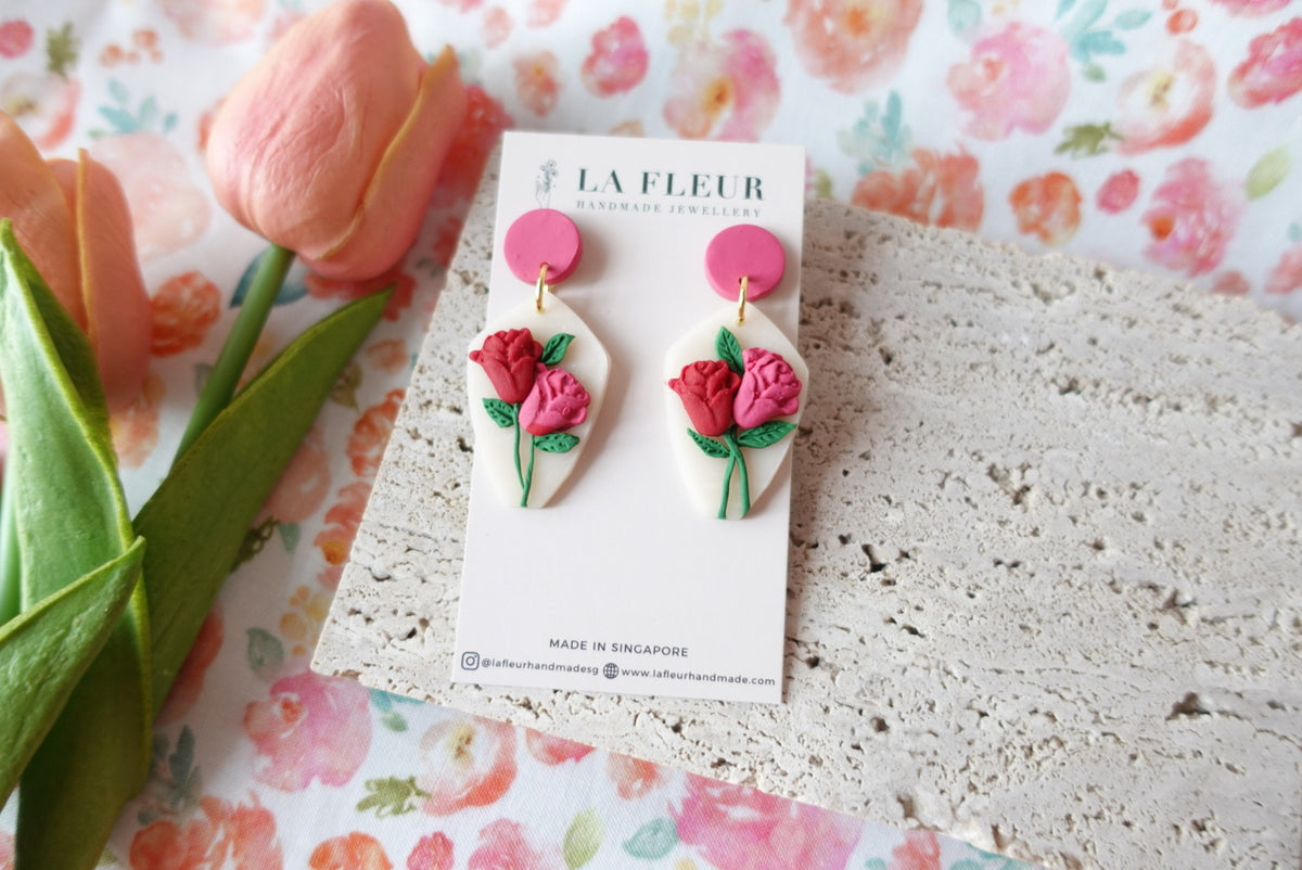 Mother's Day Rose Polymer Clay Earrings 1