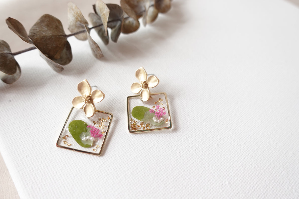Square Combination Flowers Studs