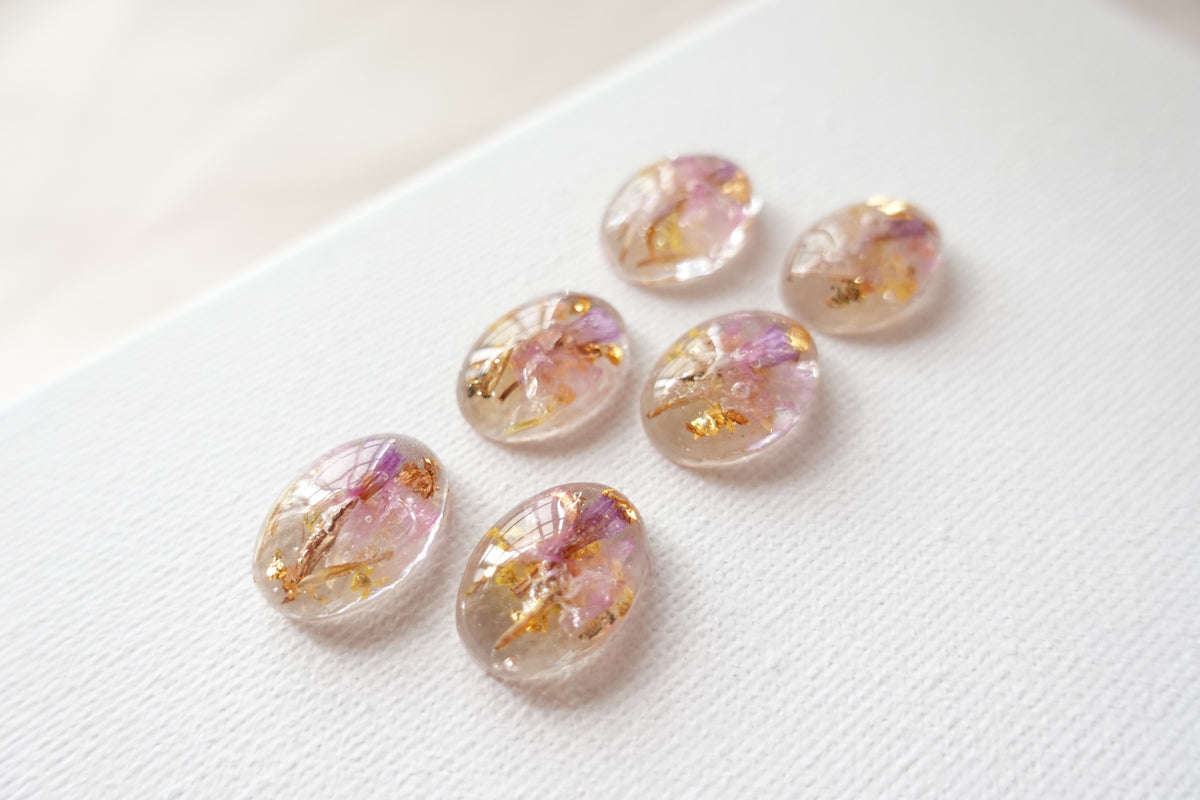 Oval Pink Yellow Combination Flower Studs