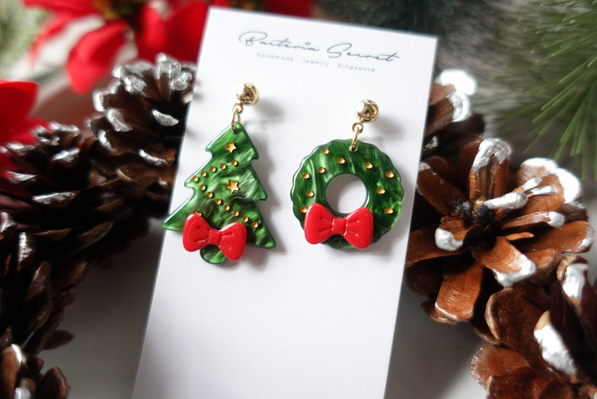Asymmetrical Jolly Christmas Earrings
