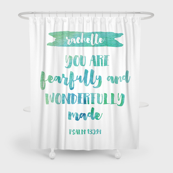 Fearfully And Wonderfully Made Green Shower Curtain Espeshly