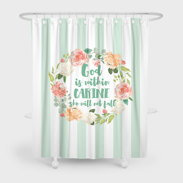 Ideal God is within her She will not fall Mint Shower Curtain – Espeshly OD45