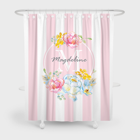 Baby pink floral wreath floral shower curtain espeshly baby pink floral wreath floral shower curtain mightylinksfo