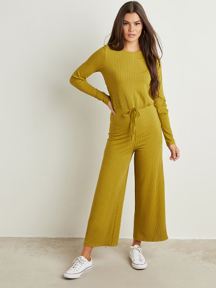 Ribbed Long Sleeves Wide Leg Jumpsuit - Shylee Online Shop