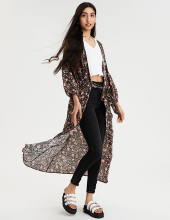 American Eagle AE Printed Long Sleeve Kimono Top - Shylee Online Shop