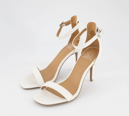 Material Girl- Blaire Two-Piece Dress Sandals, White - Shylee shop