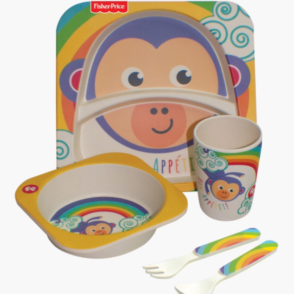 Babyshop l Fisher-Price 5-Piece Monkey Print Bamboo Dining Set - Shylee Online Shop
