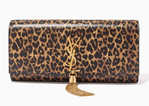 Ounass | Saint Laurent Kate Tassel Clutch in Heart-shaped Leopard-print Leather - Shylee Online Shop