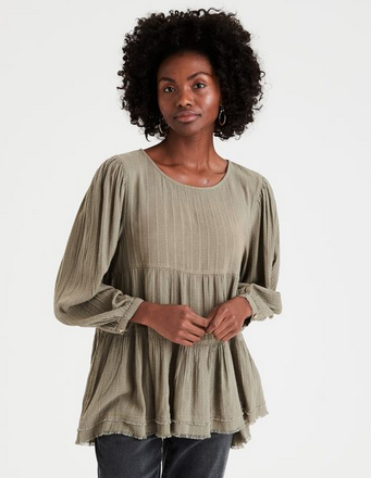 American Eagle Long Sleeve Babydoll Top - Shylee Online Shop