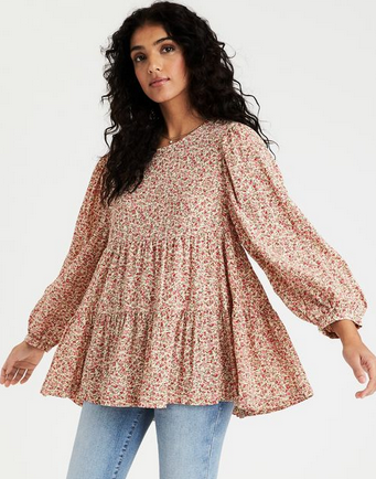 American Eagle Printed Tunic Babydoll Top - Shylee shop