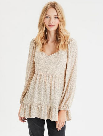 American Eagle Long Sleeve Smocked Babydoll Top - Shylee shop