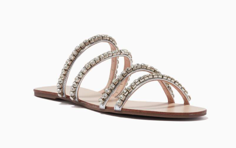 Ounass | Multi Strap Slide Sandals in Metallic Leather - Shylee Online Shop