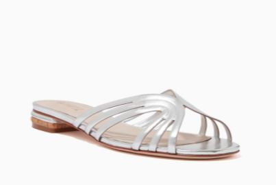 Ounass | schutz Freshfull Slide Sandals in Metallic Leather - Shylee Online Shop