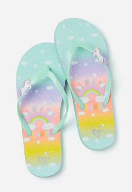 Mothercare Justice always dreaming unicorn charm swimwear collection flip flops - Shylee shop