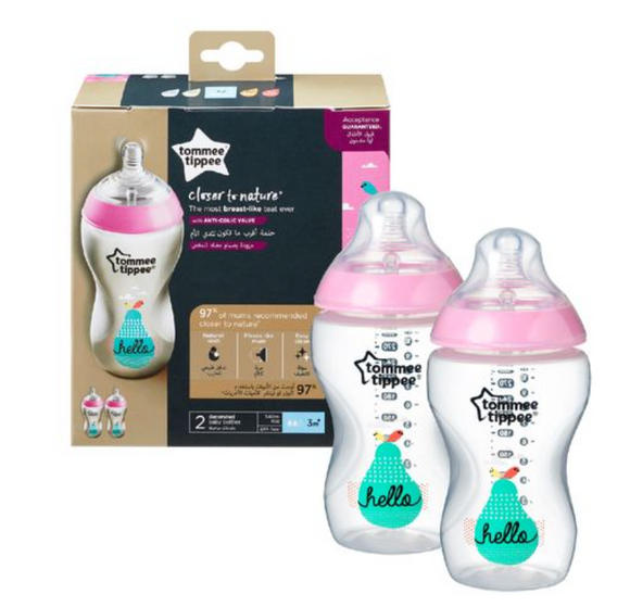 Mothercare l Tommee Tippee - Closer To Nature 2X340Ml Easi-Vent™ Decorative Feeding Bottle - Girl - Shylee Online Shop