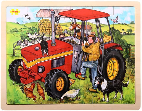 Large tray puzzle-tractor