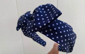 Navy With White Dots Hairband