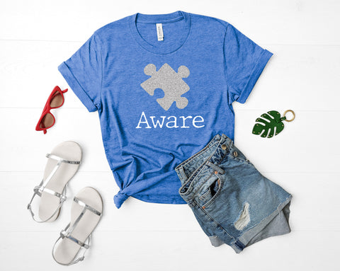 Autism Awareness Puzzle Piece AWARE, Autism Awareness Month Apparel