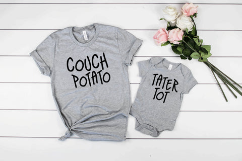 Couch Potato/Tater Tot Shirt Set, Father's Day Gift Set, Parent Child Matching Shirts, Funny T-shirts