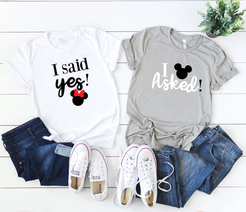 I asked/I said Yes, Magical Engagement Shirts For Couples, Engaged In Disney, Disney Proposal