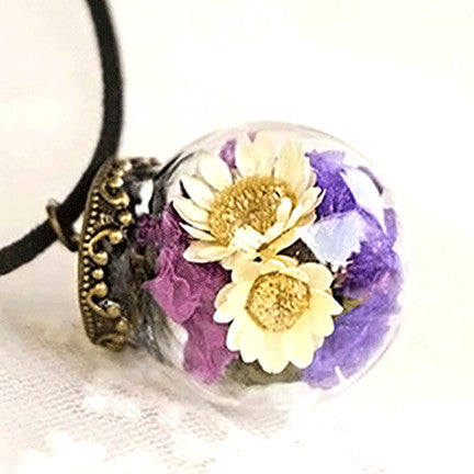 Dried Flower Terrarium Necklace (Bouquet)
