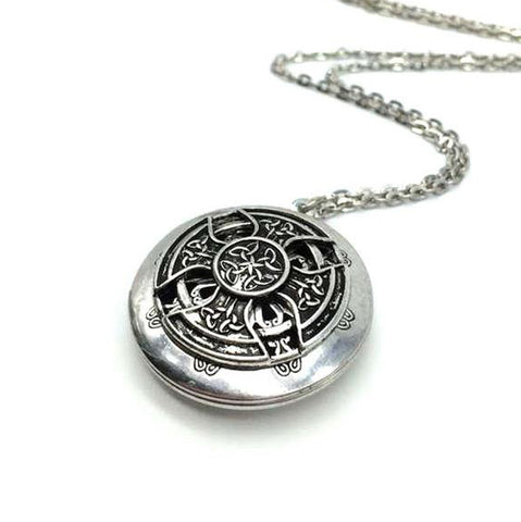 - Vintage Celtic Aromatherapy Necklace in Antique Silver