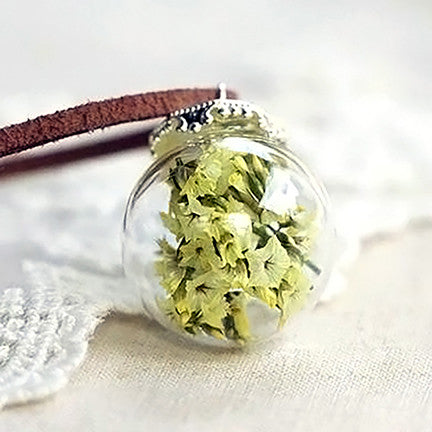 Dried Flower Terrarium Necklace (Yellow Petunia)
