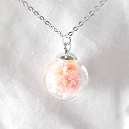 Dried Flower Terrarium Necklace (Small Pink Petals)