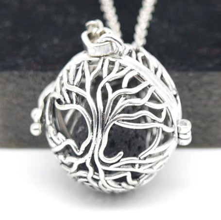 - Tree of Life Lava Stone Diffuser Necklace