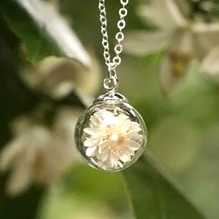 Dried Flower Terrarium Necklace (Large White Petals)