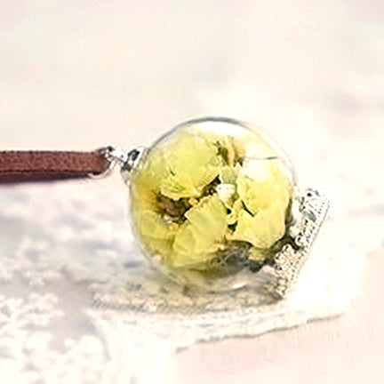 Dried Flower Terrarium Necklace (Yellow Statice)