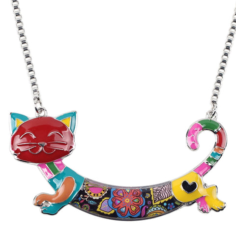 Patchwork Kitty Cat Necklace