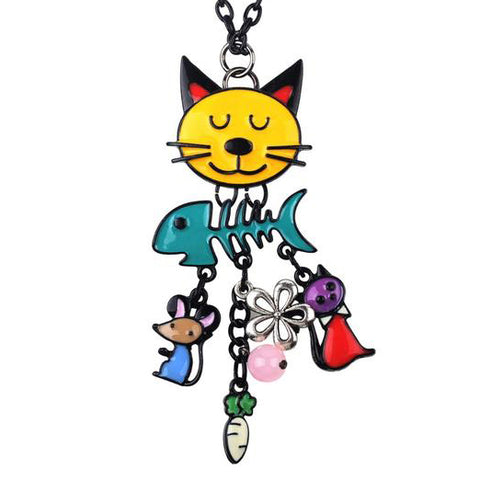 Cat and Friends Necklace