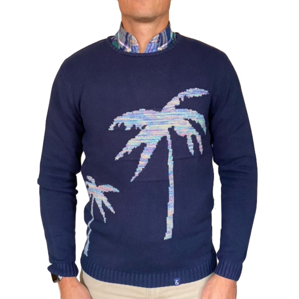 Colour-and-Sons-Palm-Tree-Sweater-Navy