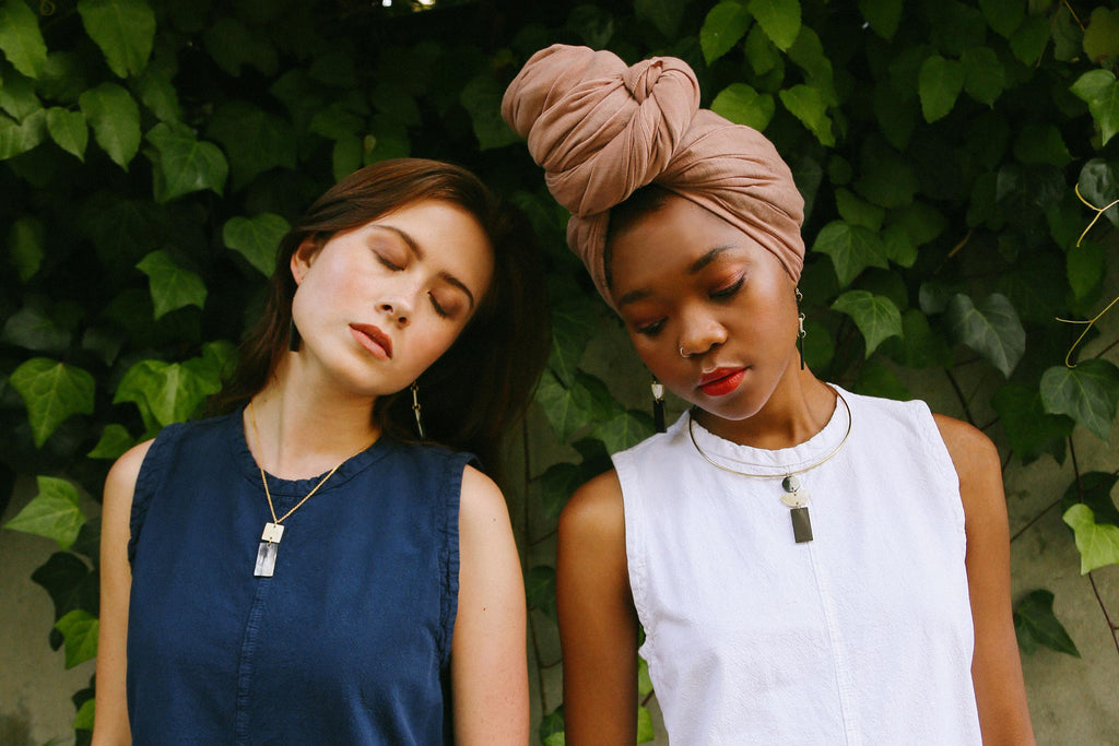 women in nature with sustainable ethical jewelry brand