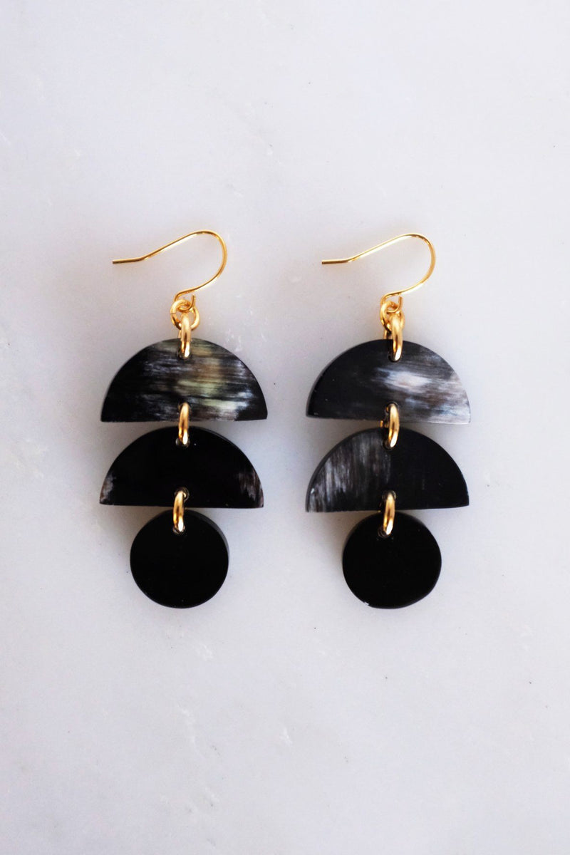 Cat Ba Crescent Drop Buffalo Horn Dangle Earrings - Handcrafted & Unique Buffalo Horn Jewelry